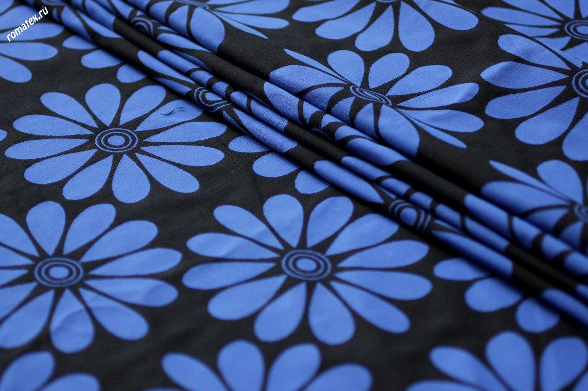Ткань жаккард «ромашки» цвет васильковый