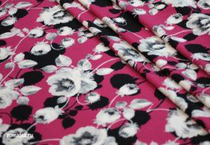 Ткань барби принт розы цвет фуксия