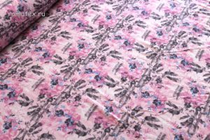 Ткань штапель вензель джинс розовый