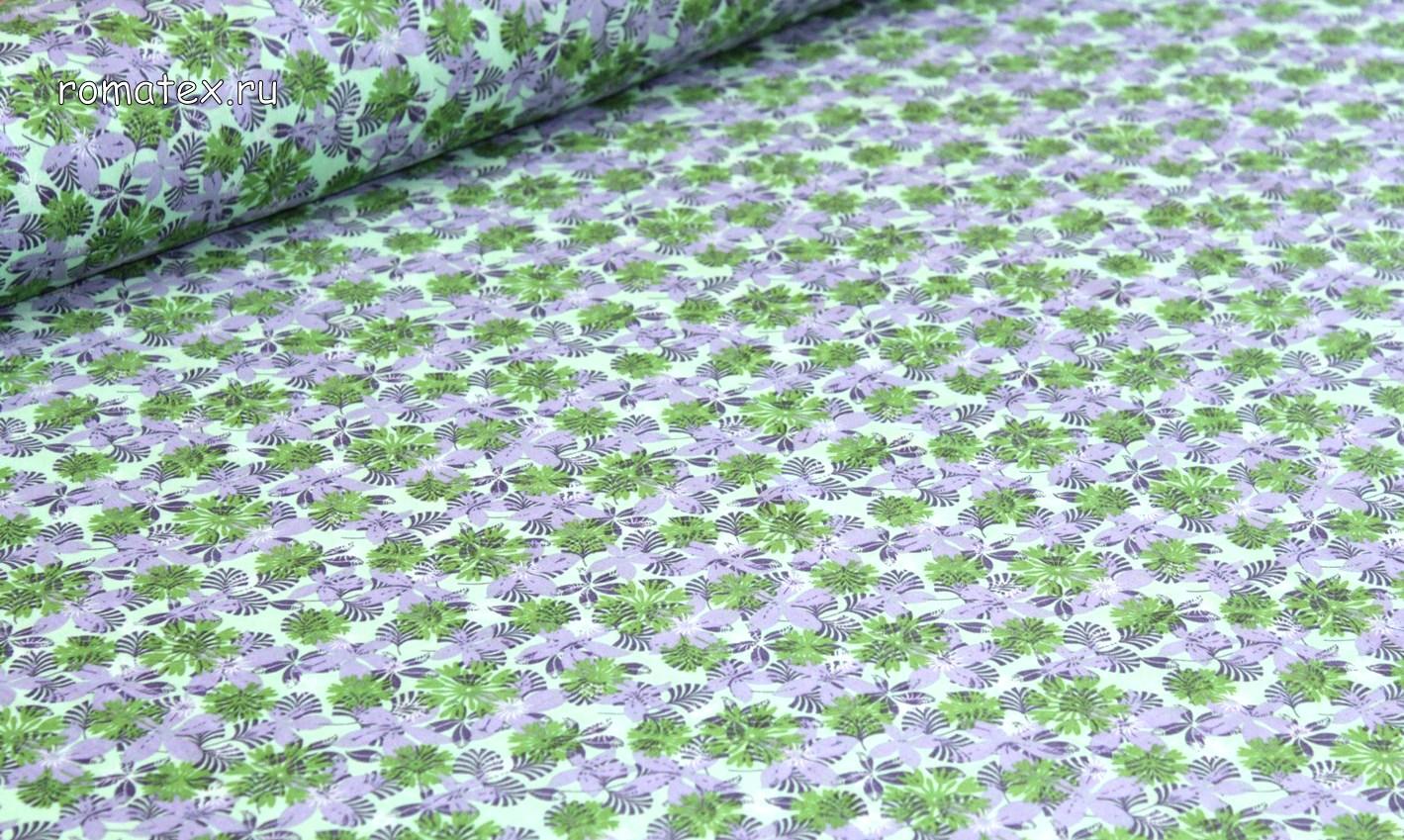 Ткань штапель вензель джинс зелёный