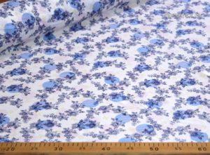 Ткань штапель вензель джинс бело-синий