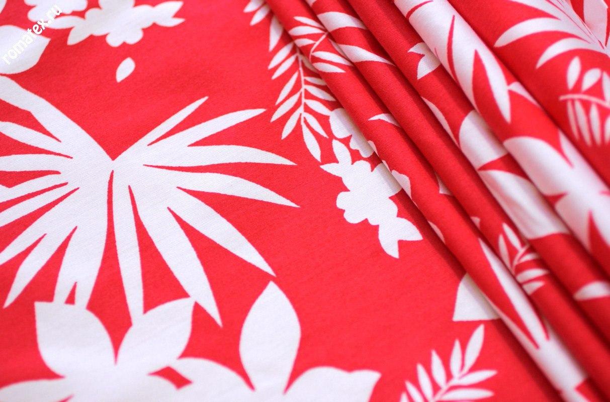 Ткань хомур принт цвет красный