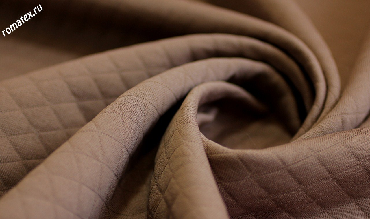 Ткань трикотаж стежка ромб цвет кофейный