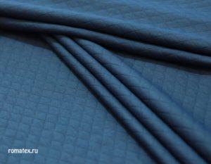 Ткань курточная трикотаж стежка ромб цвет темно-синий