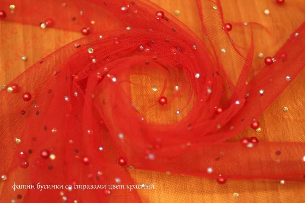 Ткань фатин бусинки со стразами цвет красный