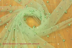Ткань фатин бусинки со стразами цвет мятный