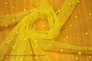 Ткань фатин бусинки со стразами цвет желтый
