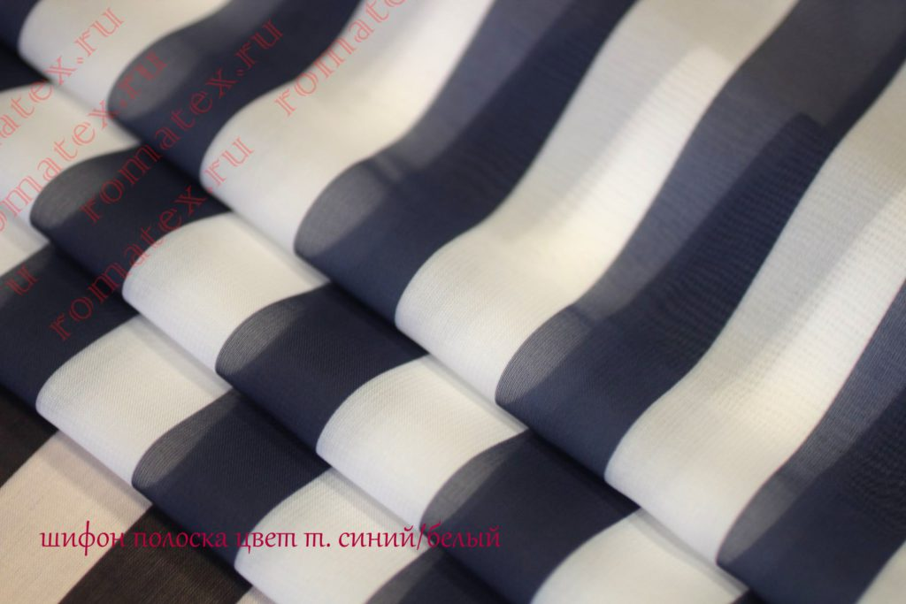 Ткань шифон полоска цвет темно-синий/белый