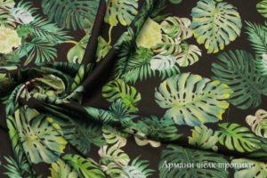 Ткань армани шелк «тропики» цвет зеленый