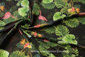 Ткань армани шелк «тропики/фламинго» цвет зеленый