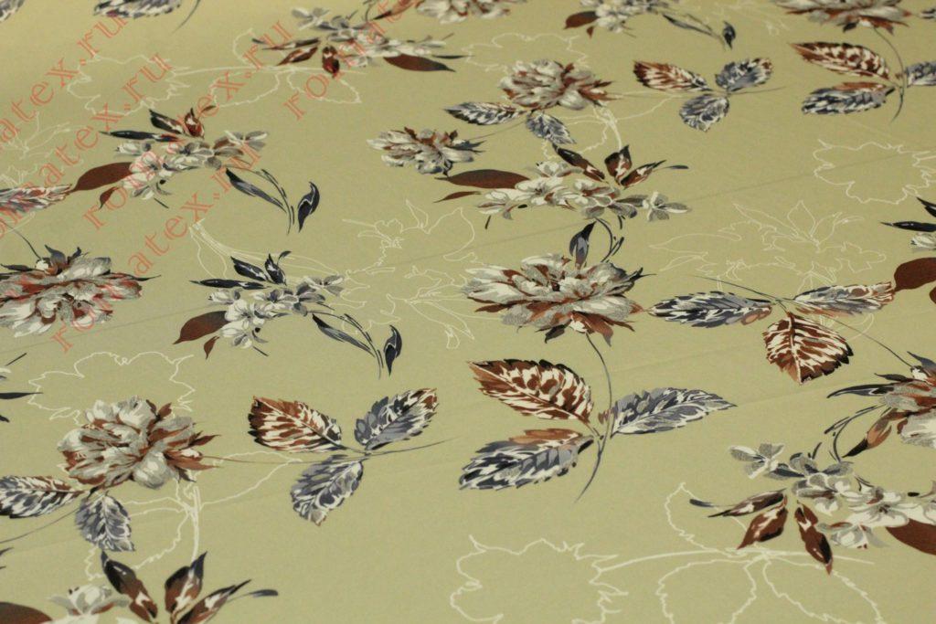 Армани шелк «Цветы» цвет оливковый