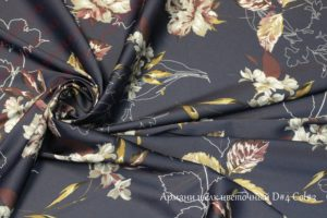 Ткань армани шелк «цветы осенние» цвет черный