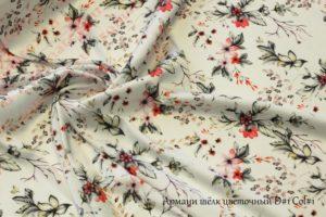 Ткань армани шелк «цветы» цвет белый