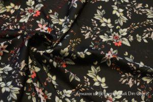 Ткань армани шелк «цветы» цвет черный