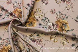 Ткань армани шелк «цветы» цвет пыльная роза
