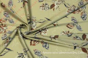 Ткань армани шелк «цветы» цвет оливковый