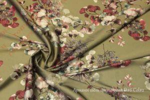 Ткань армани шелк «цветы» цвет хаки