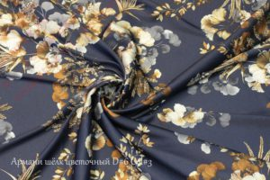 Ткань армани шелк «цветы» цвет темно-синий