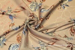 Ткань армани шелк «цветы» цвет персиковый