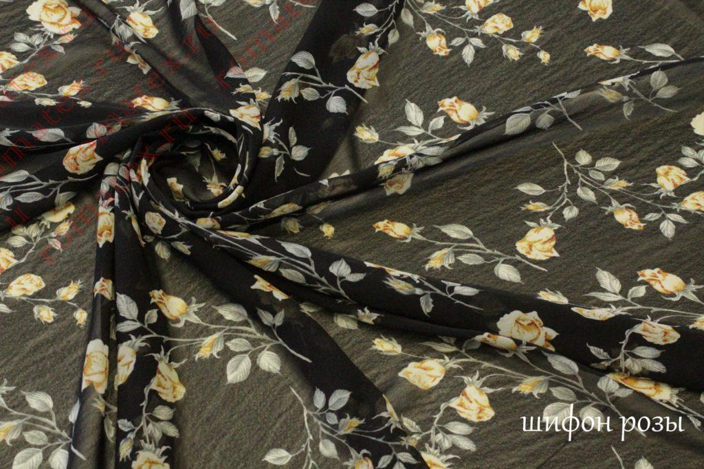 Ткань шифон «розы» цвет черный