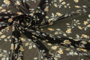 Ткань для платков шифон «розы» цвет черный