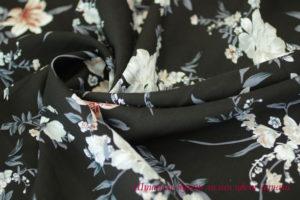 Ткань штапель букет лилии цвет черный