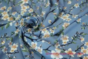 Ткань штапель сакура цвет голубой