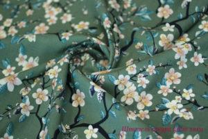 Ткань штапель сакура цвет хаки