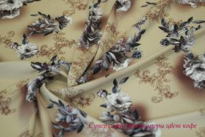 Ткань супер софт «цветы узоры» цвет кофе