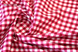 Ткань хлопок рубашечный клетка цвет бело-красный