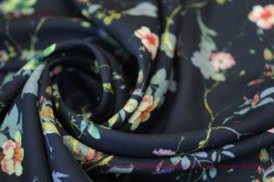 Ткань французский креп летний сад цвет темно синий