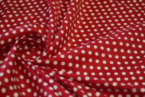 Ткань для скатерти хлопок сатин горох красный