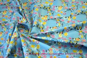 Ткань хлопок сатин одуванчики голубой