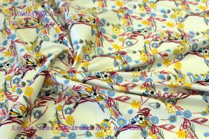 Ткань хлопок сатин одуванчики цвет молочный