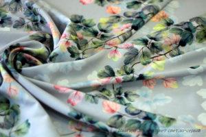 Ткань ниагара листва цвет светло серый