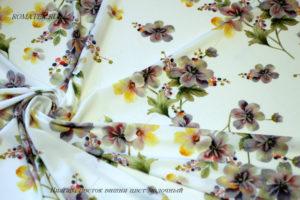 Ткань ниагара цветок вишни цвет молочный