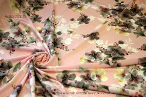 Ткань ниагара цветок вишни цвет розовый