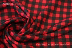Ткань штапель клетка цвет красный/черный