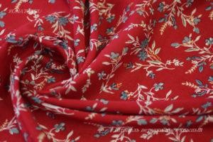 Ткань штапель веточки цвет красный