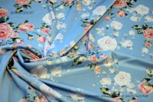 Ткань армани шелк роза кустовая цвет голубой