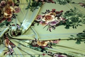 Ткань армани шелк розы крупные цвет олива
