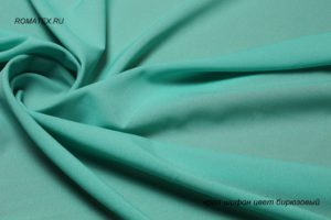 Ткань для туники креп шифон цвет бирюзовый
