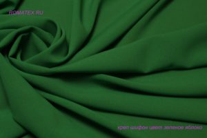 Ткань плательный креп шифон цвет зеленое яблоко
