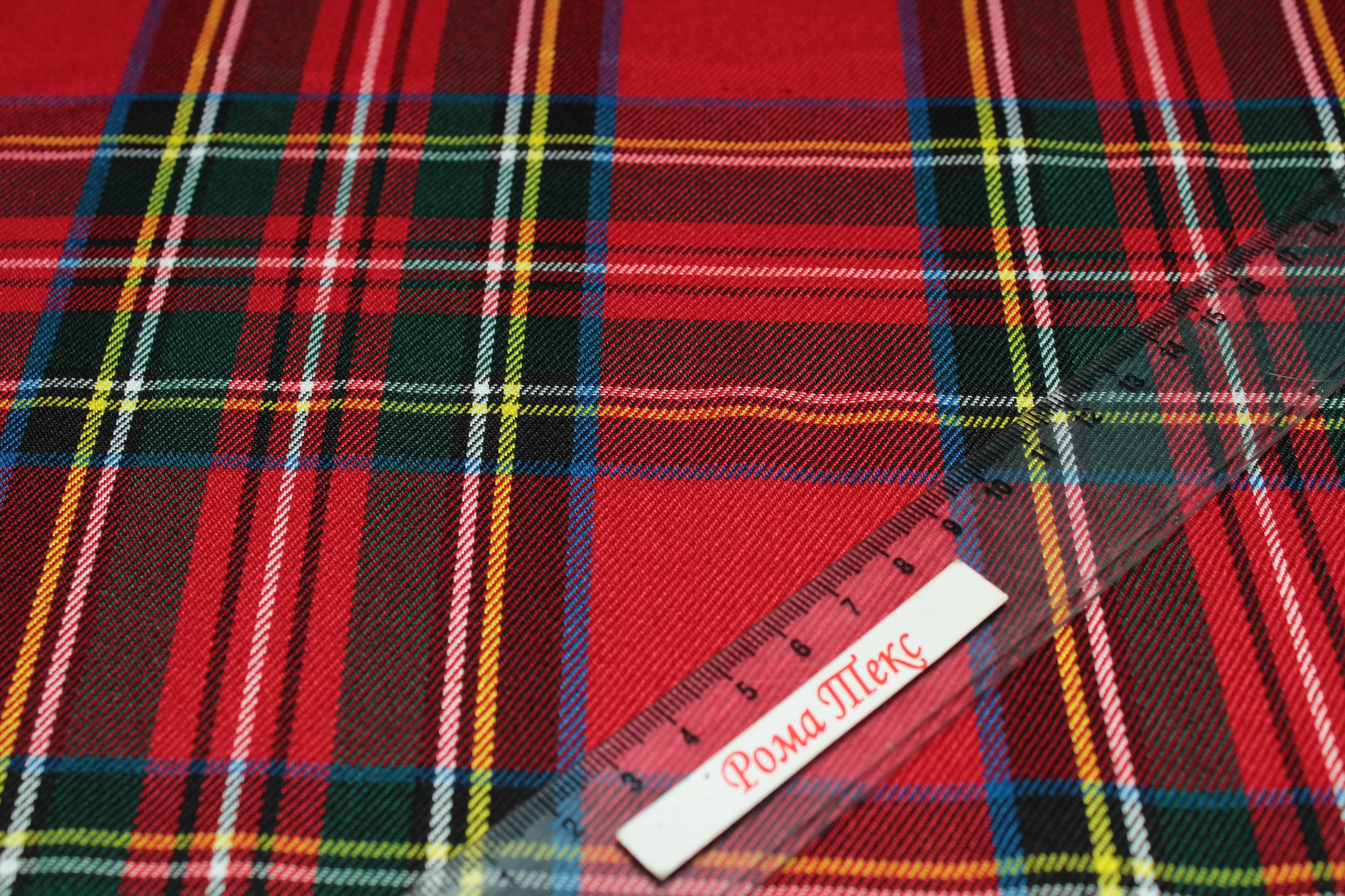 костюмная Поливискоза цвет красный/зеленый