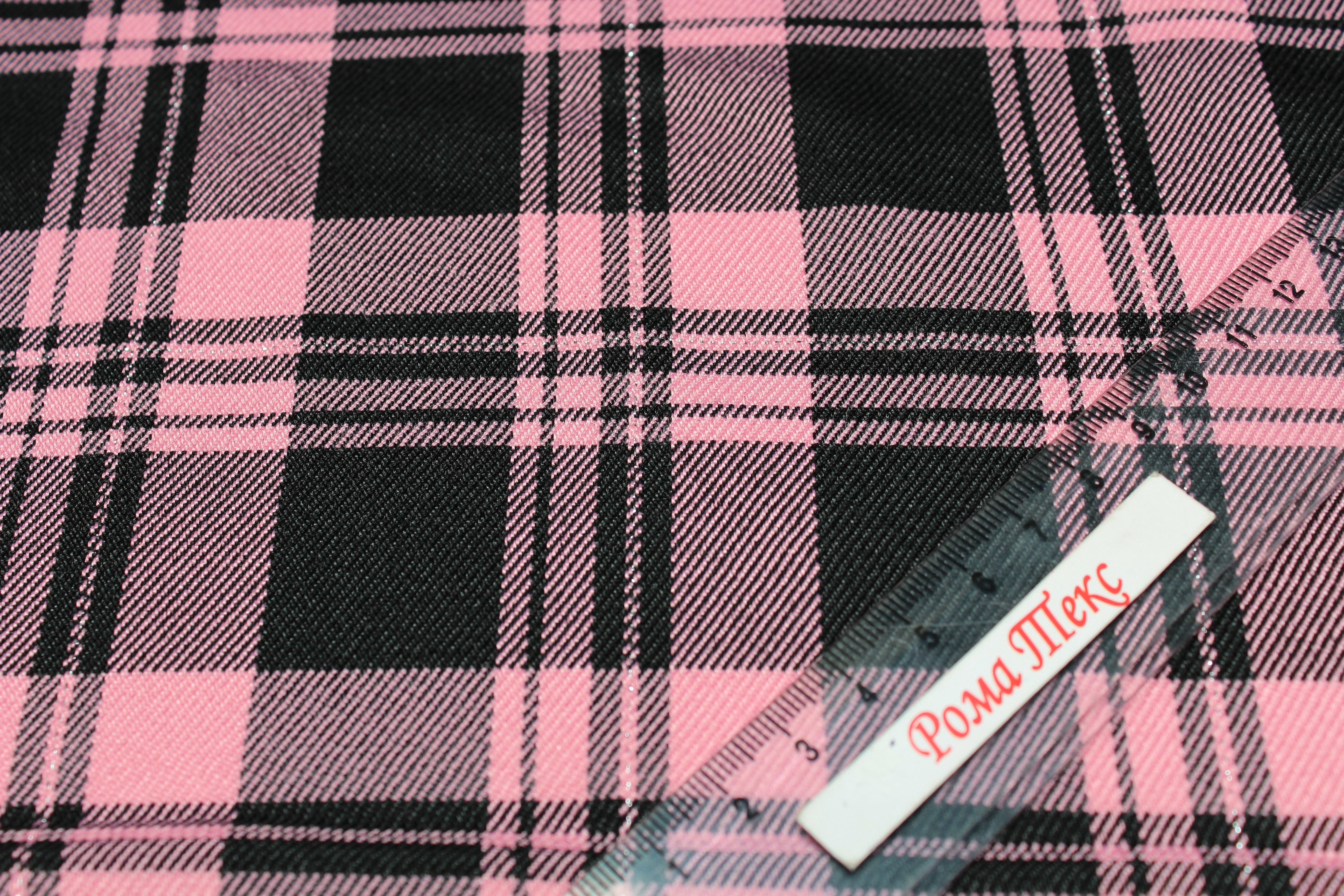костюмная Поливискоза цвет черный/розовый