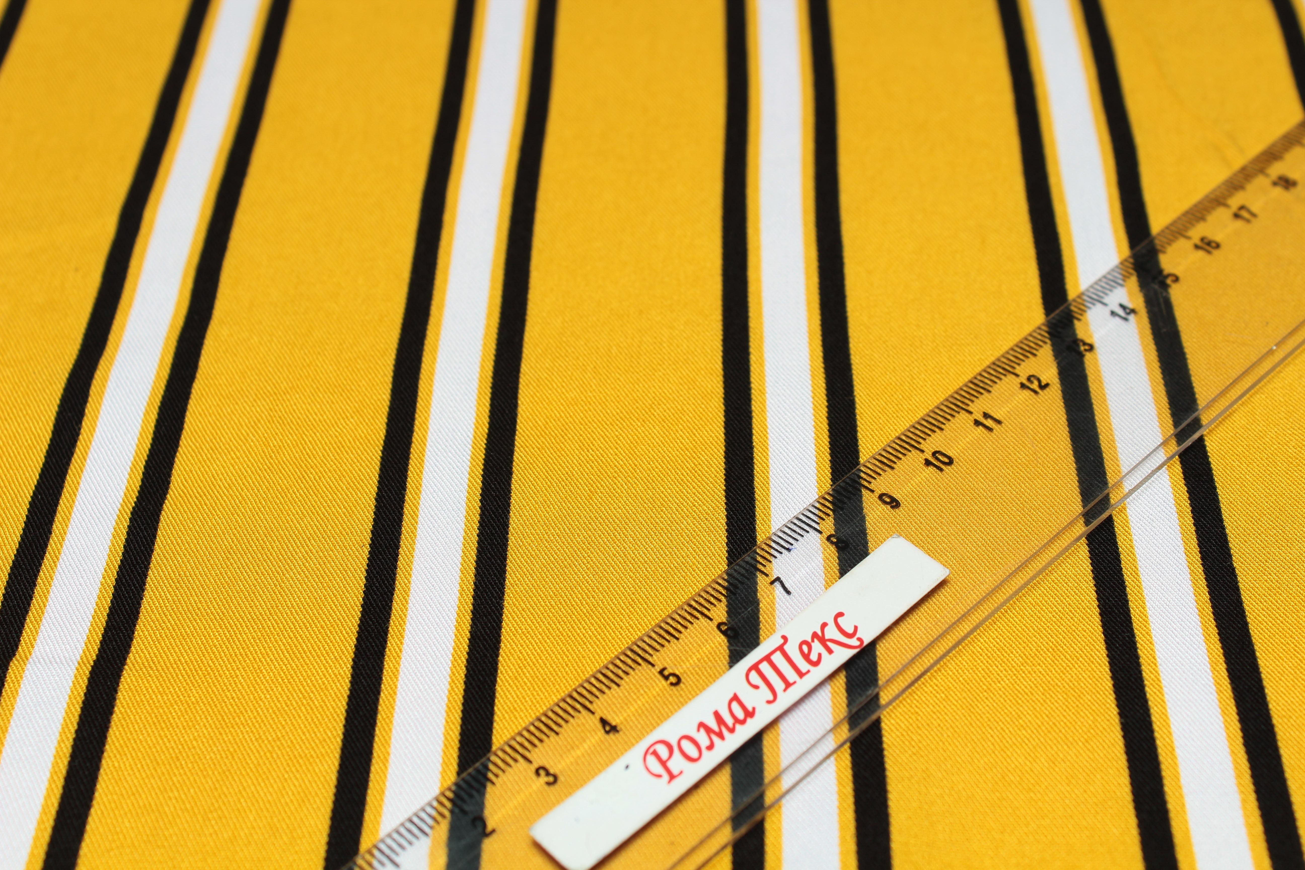 Штапель принт D5 «Полоски» цвет желтый