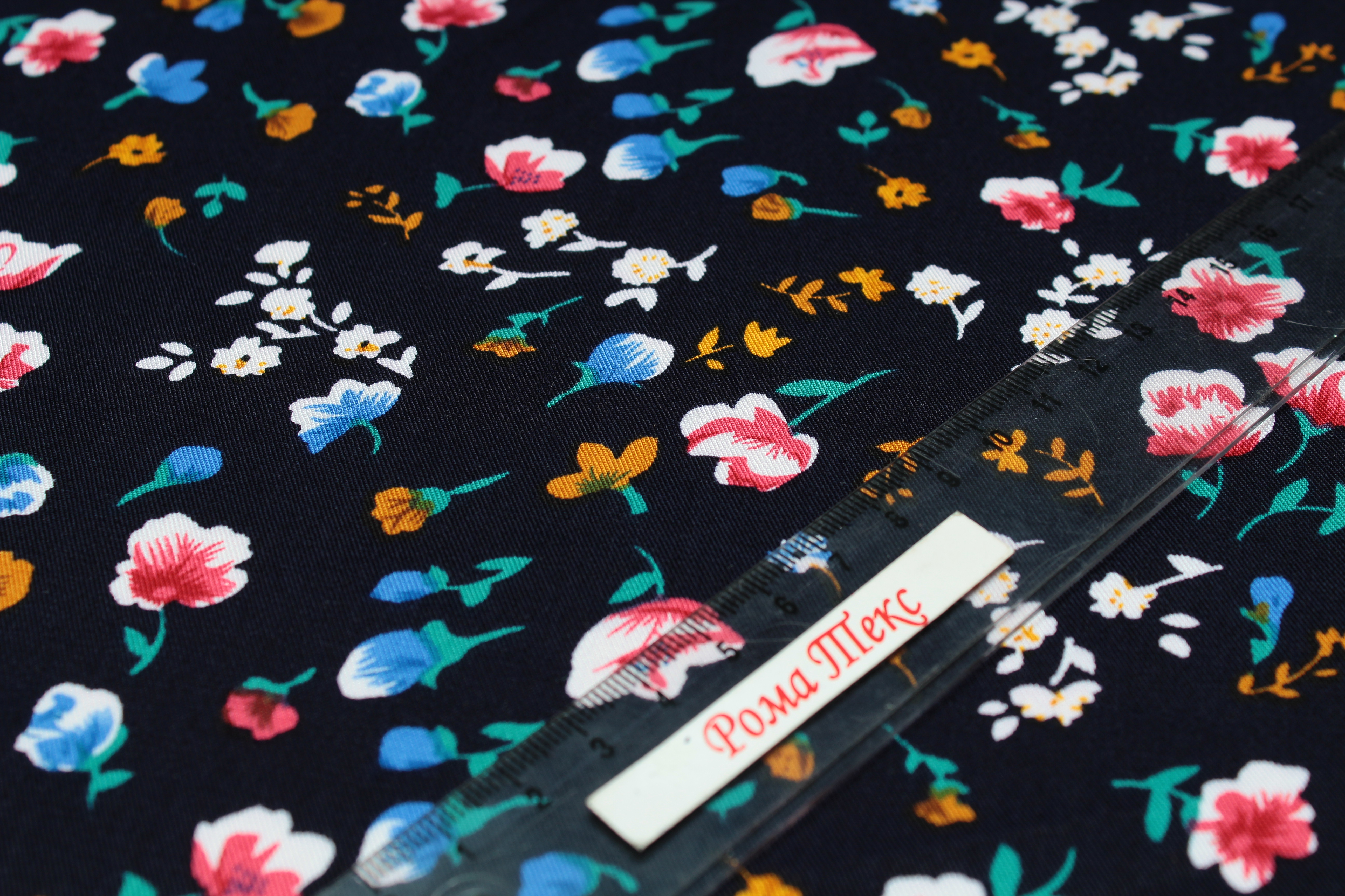 Штапель принт D6 «Мелкий цветок» цвет темно-синий