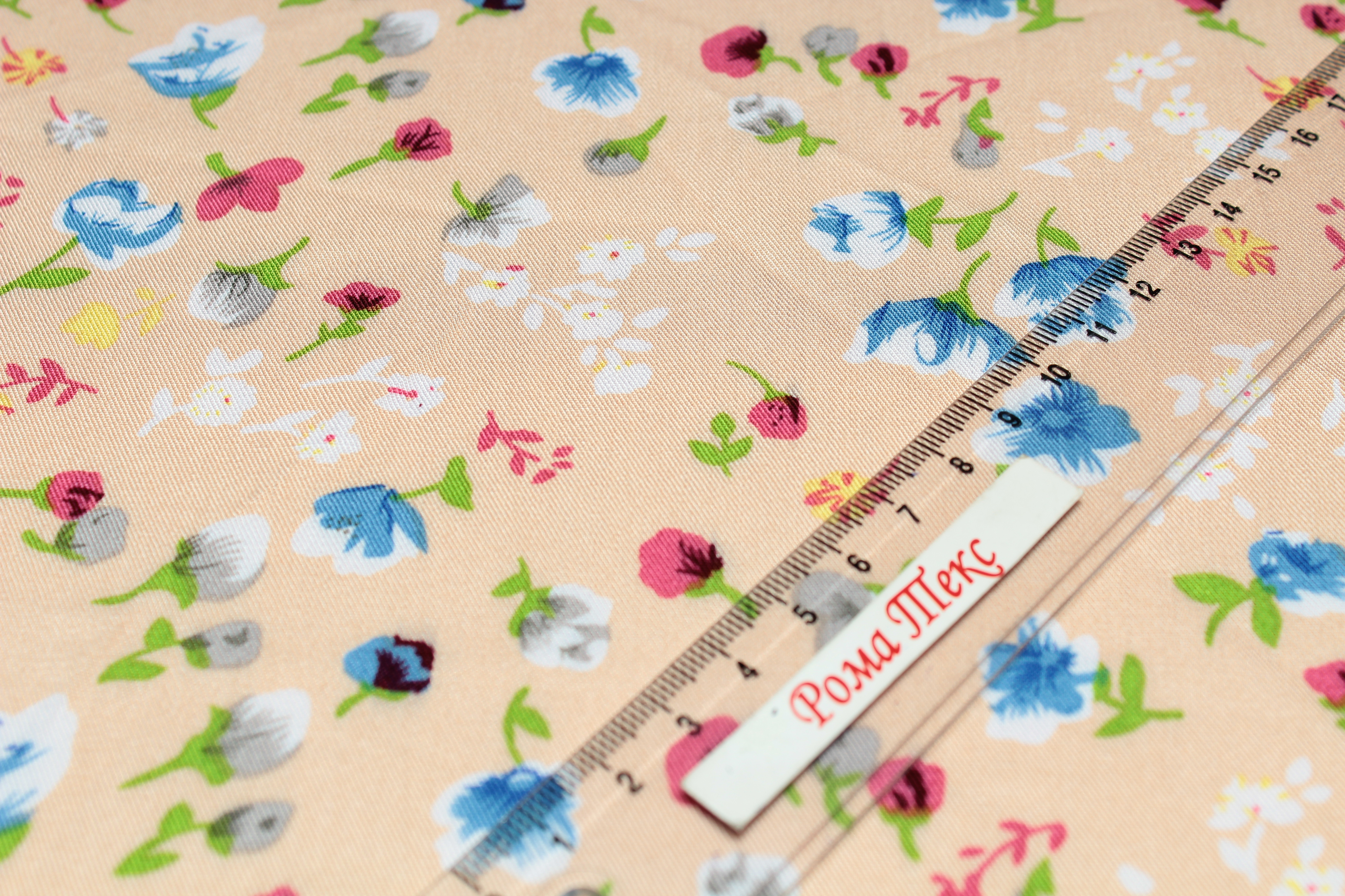 Штапель принт D6 «Мелкий цветок» цвет персиковый